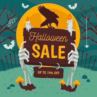 Banner di vendita di halloween disegnato a mano