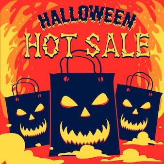 Concetto di vendita di halloween disegnato a mano