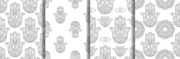 Set di modelli senza cuciture hamsa disegnati a mano mano di fatima con occhio e mandala pagina da colorare
