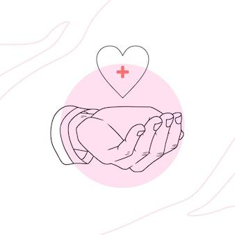 Mano disegnata a mano che dona il sangue per la giornata mondiale dell'umanità in stile art linea 4