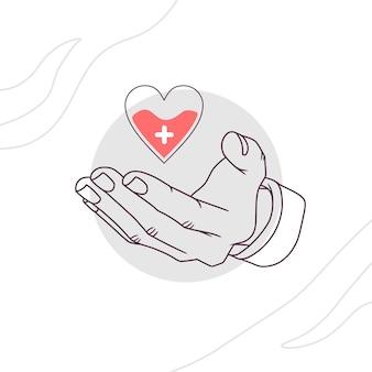 Mano disegnata a mano che dona il sangue per la giornata mondiale dell'umanità in stile arte linea 5