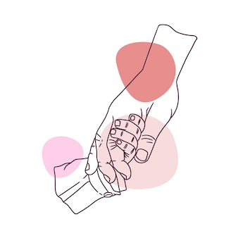 Disegno a mano disegnato a mano del padre che tiene la mano dei suoi figli in stile arte linea