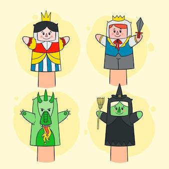 Collezione di marionette a mano disegnata a mano