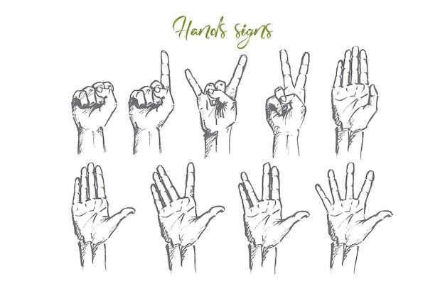 Schizzo di concetto di segni di mano disegnato a mano