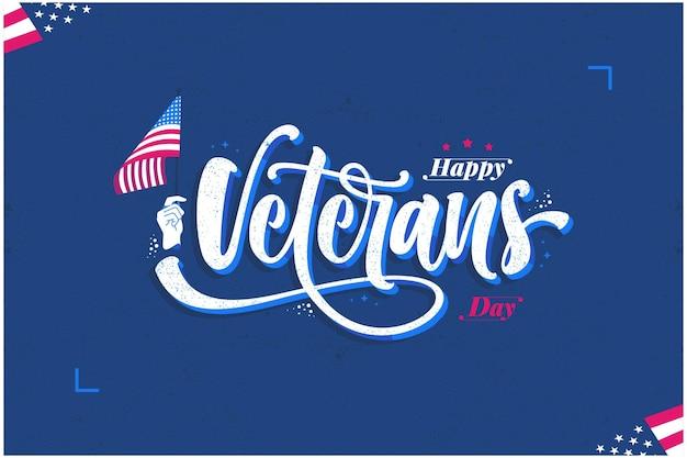 Fondo disegnato a mano dell'illustrazione dell'iscrizione del giorno dei veterani di happ