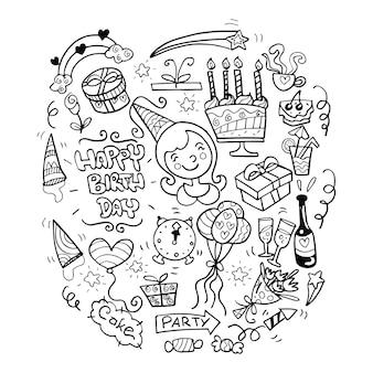 Buon compleanno disegnati a mano doodles