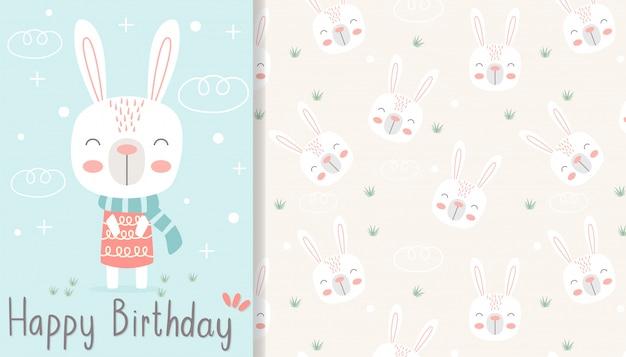 Cartolina d'auguri di buon compleanno disegnata a mano e invito a una festa