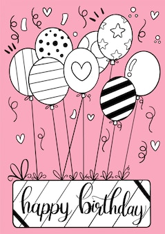 Cartolina d'auguri di buon compleanno disegnata a mano
