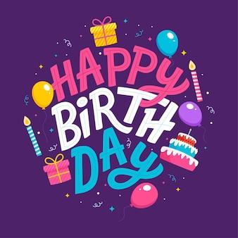Iscrizione di buon compleanno disegnata a mano con palloncini, coriandoli Vettore Premium