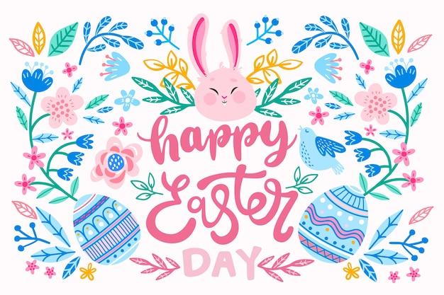 Uova e coniglietto felici disegnati a mano di giorno di pasqua