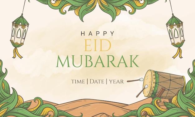 Disegnato a mano happy eid mubarak bellissimo sfondo banner lettering