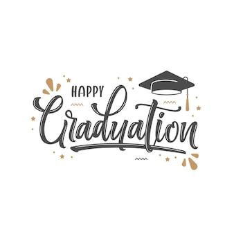 Modello di lettere di laurea felice disegnato a mano