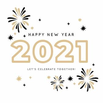 Fuochi d'artificio eleganti di felice anno nuovo 2021 disegnati a mano