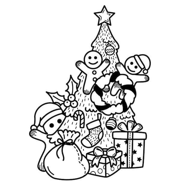 Felice anno nuovo e buon natale disegnati a mano