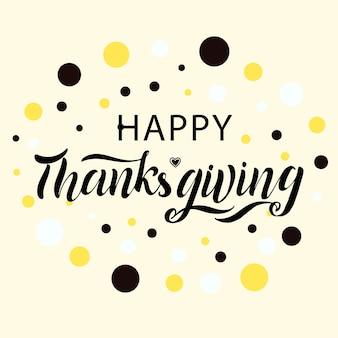 Manifesto di tipografia happy thanksgiving disegnato a mano su una celebrazione del modello di progettazione di sfondo rosa. citazione celebrativa per carta, cartolina, logo icona, badge. calligrafia autunnale in stile moderno vettoriale