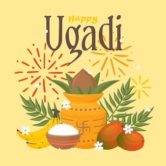 Illustrazione di ugadi felice disegnata a mano