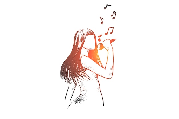 Donna felice disegnata a mano che canta una canzone nello schizzo di concetto del club di karaoke