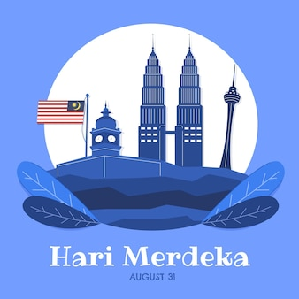 Illustrazione disegnata a mano di hari merdeka