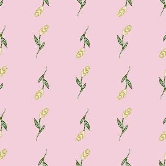 Reticolo senza giunte del raccolto disegnato a mano con spiga verde di silhoettes di grano. sfondo rosa pastello. progettazione grafica per carta da imballaggio e trame di tessuto. illustrazione di vettore.