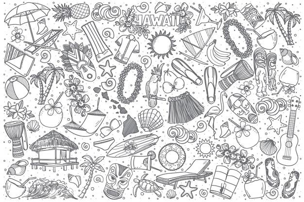 Insieme di doodle di hawaii disegnato a mano