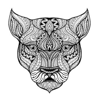 Testa disegnata a mano dello sfondo leonessa
