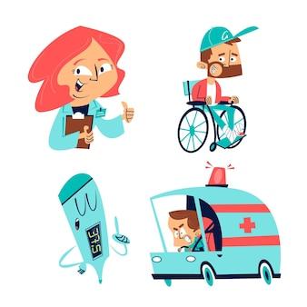 Set di illustrazioni di assistenza sanitaria disegnate a mano