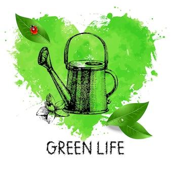 Simbolo dell'acquerello del cuore disegnato a mano e illustrazione di schizzo. bandiera ecologica. poster di design ecologico