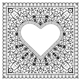 Cuore disegnato a mano con fiore mehndi. decorazione in ornamento etnico orientale, doodle. illustrazione di tiraggio della mano di contorno.