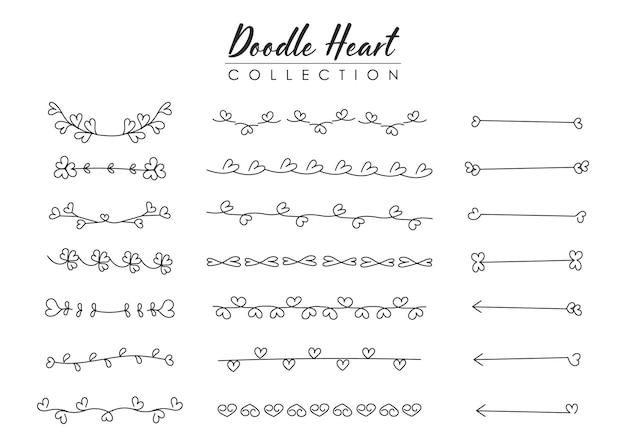 Elementi divisori cuori disegnati a mano.