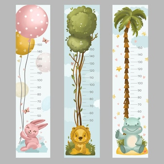 Collezione di misuratori di altezza disegnati a mano per bambini