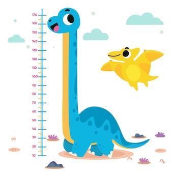 Misuratore di altezza disegnato a mano per bambini illustrato