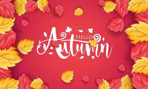 Ciao autunno sfondo disegnato a mano con ornamento di foglie
