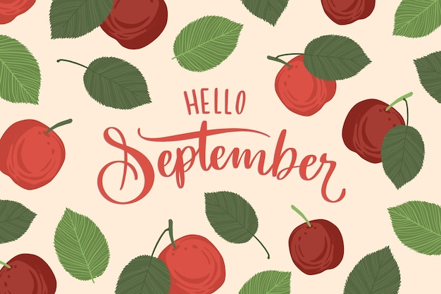 Ciao settembre sfondo disegnato a mano