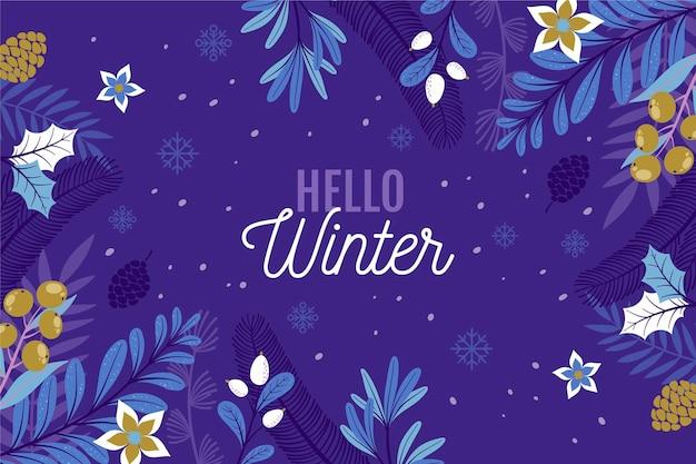 Ciao sfondo invernale disegnato a mano
