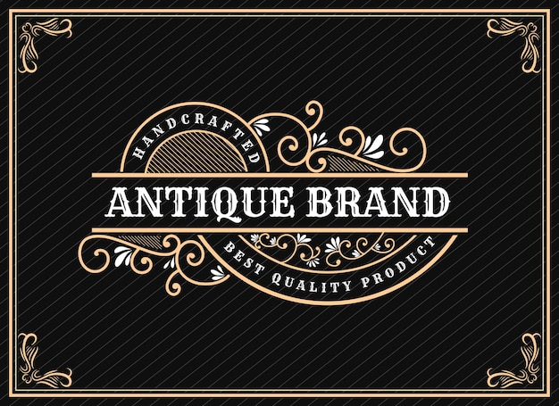 Design del logo retrò vintage di lusso disegnato a mano con cornice decorativa per testo e font showcase premium