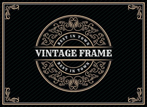 Design del logo retrò vintage di lusso disegnato a mano con cornice decorativa per il testo della carta dell'invito di nozze e la vetrina dei caratteri premium