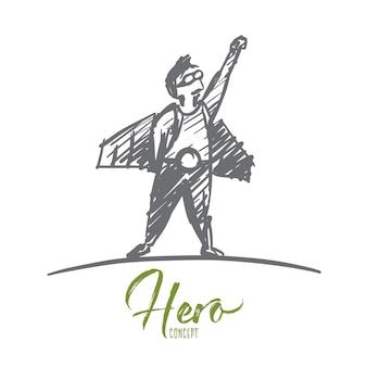 Schizzo di concetto di eroe disegnato a mano.