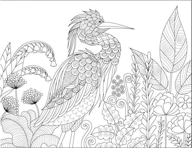 Airone disegnato a mano con elementi floreali