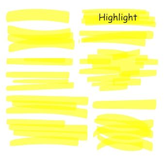 Set di linee di evidenziazione disegnate a mano. evidenziatore colpi gialli isolati su sfondo bianco. illustrazione di disegno dell'evidenziatore.