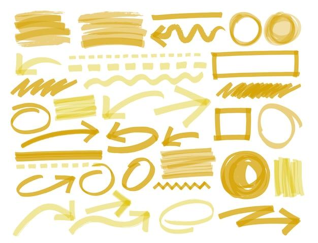 Linee di evidenziazione e marcatore disegnate a mano.