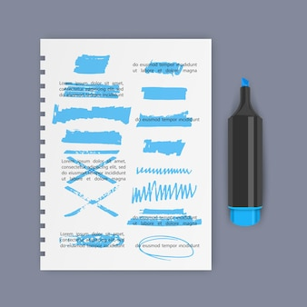 Gli elementi di design dell'evidenziatore disegnati a mano segnano strisce e tratti possono essere utilizzati per l'evidenziazione del testo