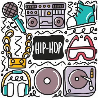 Doodle di musica hip-hop disegnato a mano con icone ed elementi di design