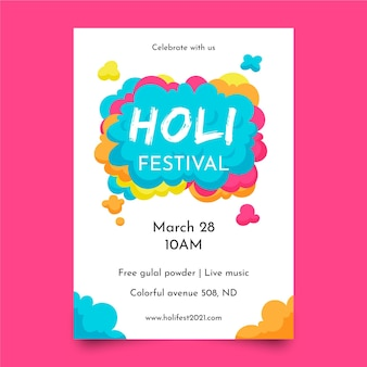 Modello di poster verticale del festival di holi disegnato a mano