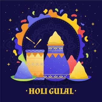 Illustrazione disegnata a mano di holi gulal