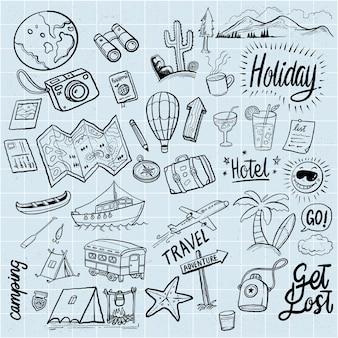 Vacanze disegnate a mano doodles elementi