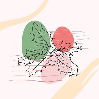 Bacca di agrifoglio disegnata a mano in stile arte linea