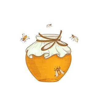 Illustrazione disegnata a mano di produzione di miele un barattolo di miele con le api che volano intorno isolate