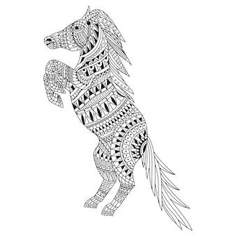 Disegnato a mano di cavallo in stile zentangle