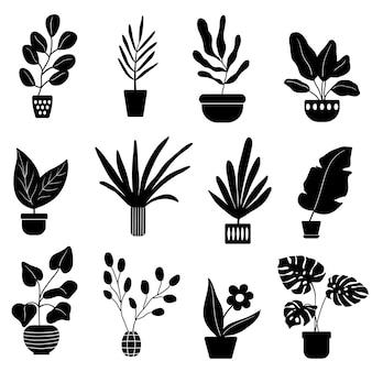 Sagome di piante da appartamento disegnate a mano in vaso