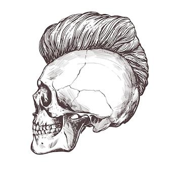 Cranio umano disegnato a mano con taglio di capelli alla moda nel profilo.